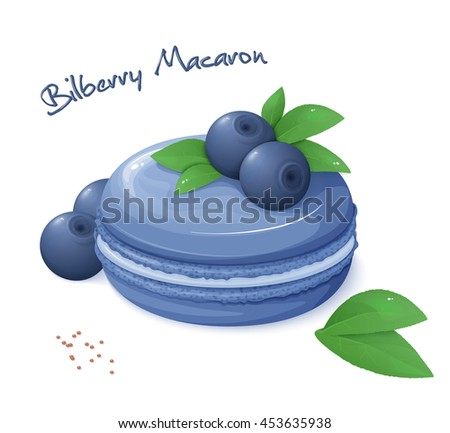 vector illustration of realistic isolated bilberry macaron with fresh ripe bilberry berries and leaves. - stock vector