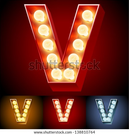 Vector illustration of realistic old lamp alphabet for light board. Red Gold and Silver options. Letter V - stock vector