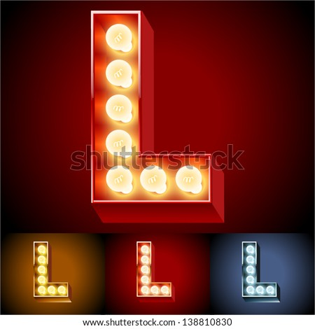Vector illustration of realistic old lamp alphabet for light board. Red Gold and Silver options. Letter L - stock vector