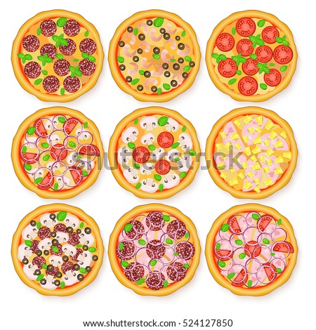 Vector illustration of realistic pizza set. Margherita, Pepperoni, Hawaiian, Mexican, Mushroom, Seafood adn other pizzas for the menus and banners pizzerias, cafes, and other design projects.
