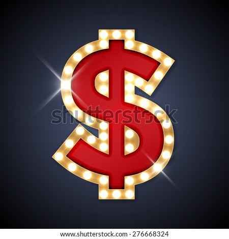 Vector illustration of realistic retro signboard Dollar sign. Part of alphabet including special European letters. - stock vector
