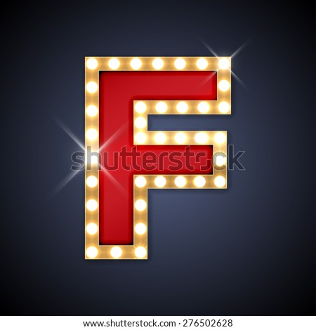 Vector illustration of realistic retro signboard letter F. Part of alphabet including special European letters. - stock vector
