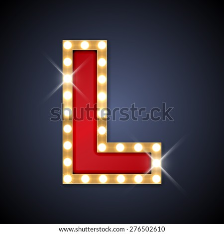 Vector illustration of realistic retro signboard letter L. Part of alphabet including special European letters. - stock vector