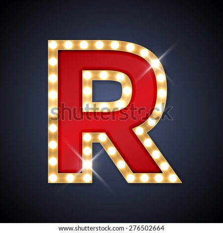 Vector illustration of realistic retro signboard letter R. Part of alphabet including special European letters. - stock vector