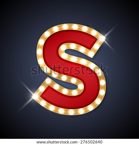 Vector illustration of realistic retro signboard letter S. Part of alphabet including special European letters. - stock vector