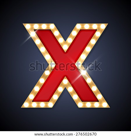 Vector illustration of realistic retro signboard letter X. Part of alphabet including special European letters. - stock vector