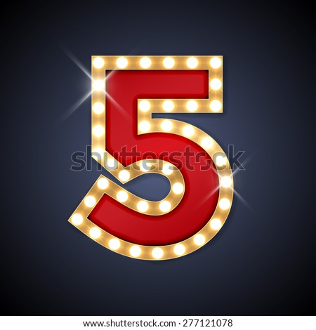 Vector illustration of realistic retro signboard number 5 (five). Part of alphabet including special European letters. - stock vector