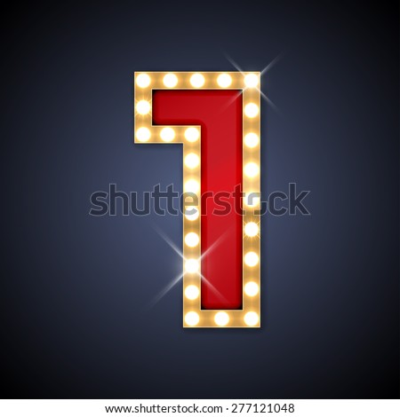 Vector illustration of realistic retro signboard number 1 (one). Part of alphabet including special European letters. - stock vector