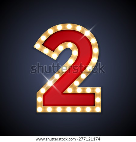 Vector illustration of realistic retro signboard number 2 (two). Part of alphabet including special European letters. - stock vector