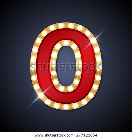 Vector illustration of realistic retro signboard number 0 (zero). Part of alphabet including special European letters. - stock vector