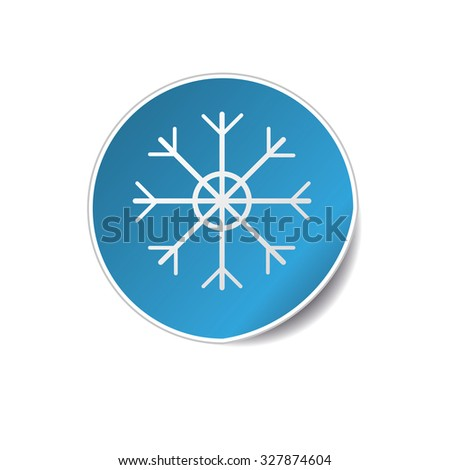 Vector illustration of Realistic Round Sticker. Blue Christmas theme with snowflake - stock vector