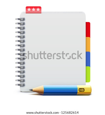 Vector illustration of realistic spiral notebook and detailed pencil