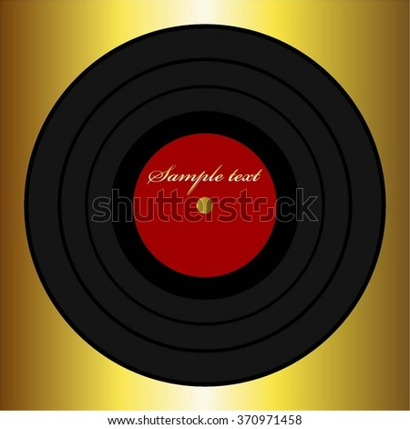 Vector illustration of Record on a gold background. - stock vector