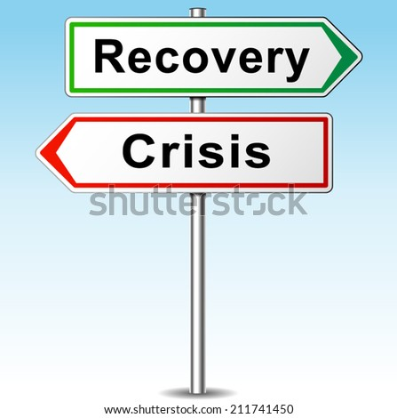 Vector illustration of recovery and crisis direction sign