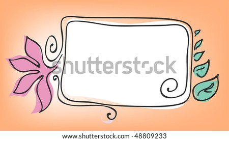 Vector illustration of rectangular frame with flower and leaves
