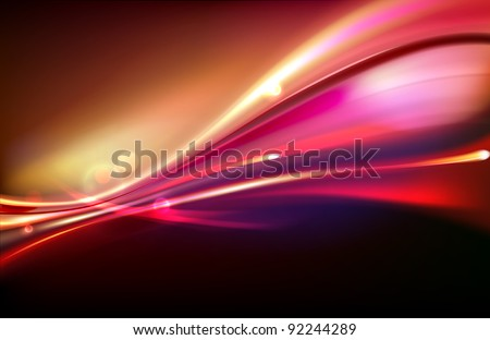 Vector illustration of red abstract background with blurred magic neon light curved lines - stock vector