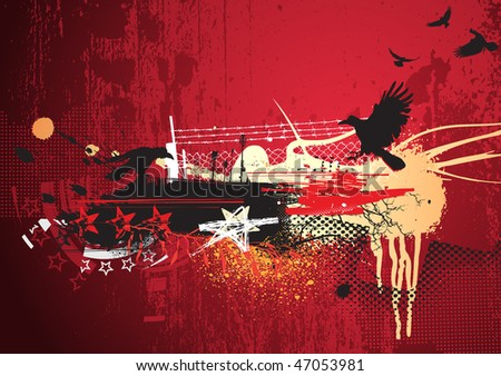 Vector illustration of red abstract urban background with  grunge Design elements - stock vector