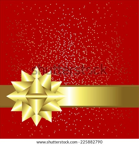 Vector illustration of Red background with sparkles. Gold ribbon and bow - stock vector