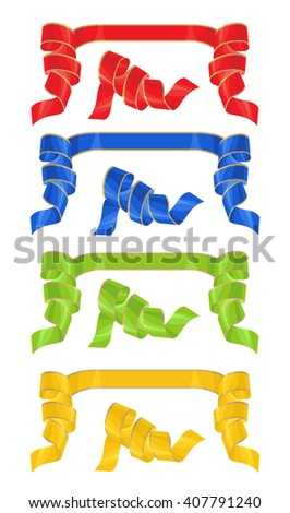 Vector illustration of red, blue, green and yellow scroll ribbon with gold line on white background.