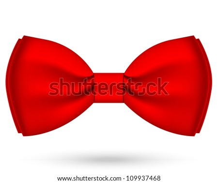 Vector illustration of red bow-tie - stock vector