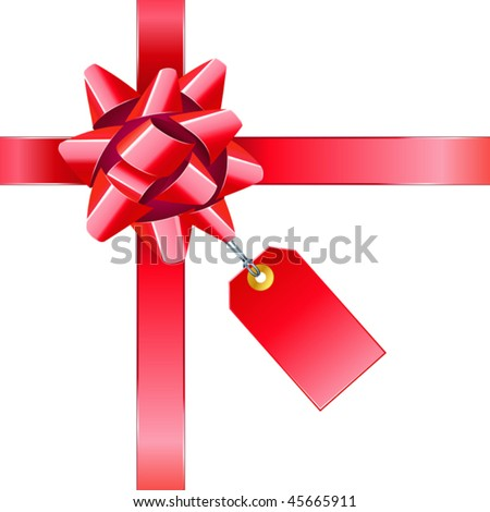 vector illustration of red bow with tag - stock vector
