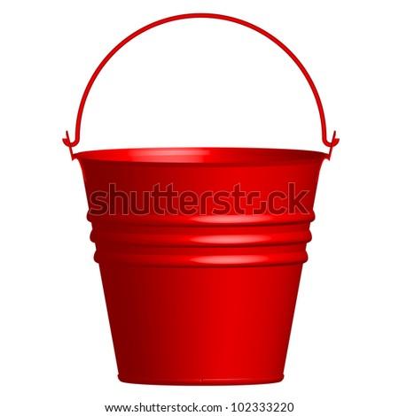 Vector illustration of red  bucket - stock vector