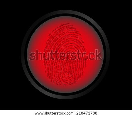 Vector illustration of red button fingerprint biometric not identified. - stock vector