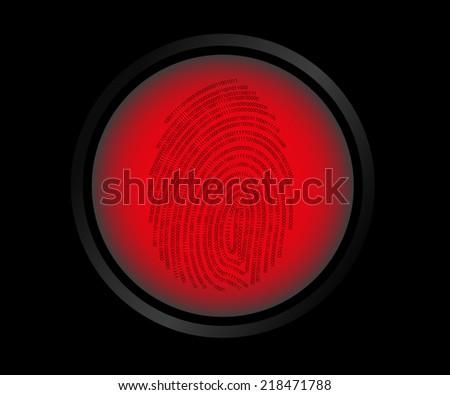 Vector illustration of red button fingerprint biometric not identified. - stock vector