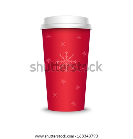 Vector illustration of red coffee cup with snowflakes, isolated on white