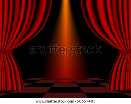 Vector illustration of red curtain