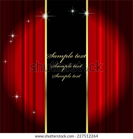 Vector illustration of Red curtain. Theatre. Spotlight - stock vector