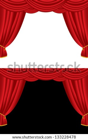Vector illustration of red curtains.