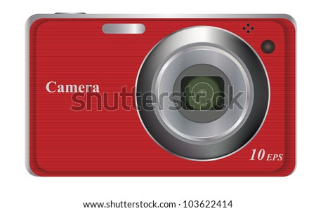 vector illustration of red digital camera - stock vector