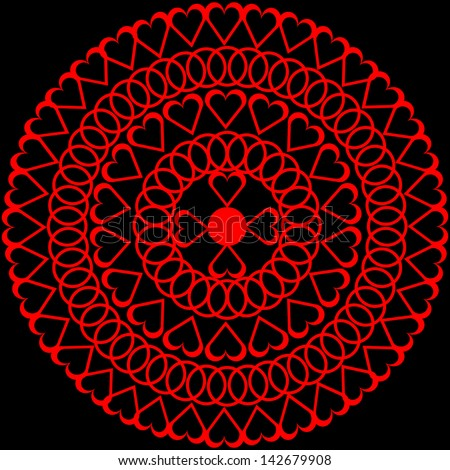 Vector illustration of red 	doily on black background