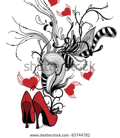 vector illustration of  red fashion shoes with abstract plants and flying hearts - stock vector