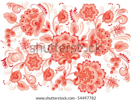 Vector illustration of red flowers