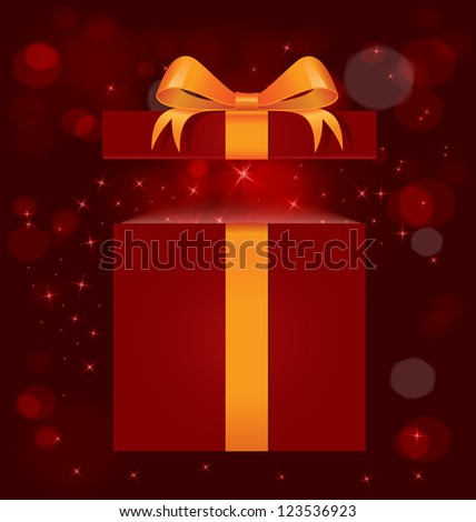 Vector illustration of red gift box with gold ribbon bow and magic light out