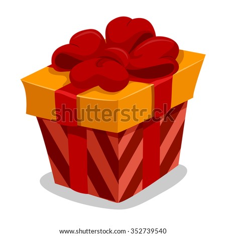 Vector Illustration of Red Gift Box with Red Ribbon - stock vector