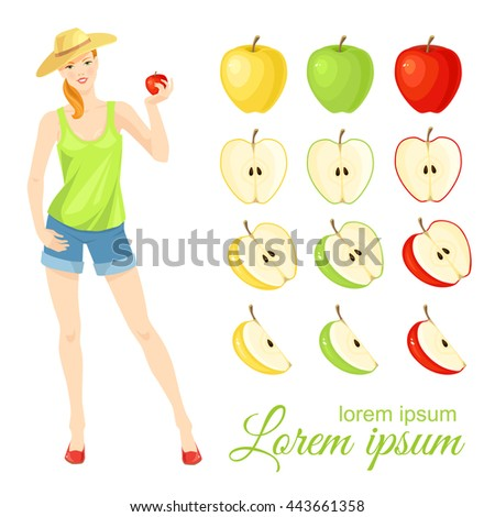 Vector illustration of red, green and yellow ripe slices apple isolated on white background. Young woman in straw hat - stock vector