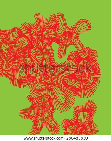 Vector illustration of red green complementary contrast lichen pattern background. Hand drawn, doodle backdrop. - stock vector