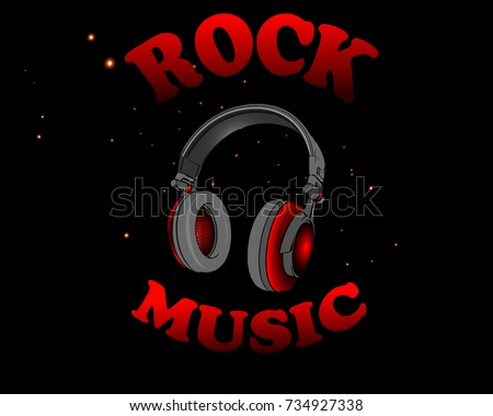 Rock Festival Poster Rock Roll Sign Stock Vector 608613698