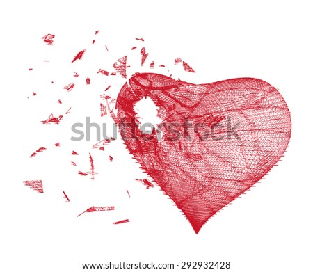 Vector illustration of red heart made from lines and dots on white background, crushed to a pieces, stylized red mesh love symbol, Broken heart, Geometric background, Abstract 3D polygonal pattern. - stock vector