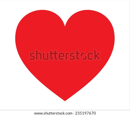 Vector illustration of red heart on white background - stock vector