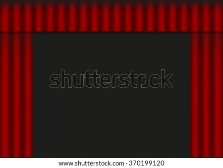 Vector illustration of red open curtain (drapery)