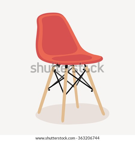 Vector illustration of red plastic chair in Scandinavian Nordic style with wooden legs - stock vector