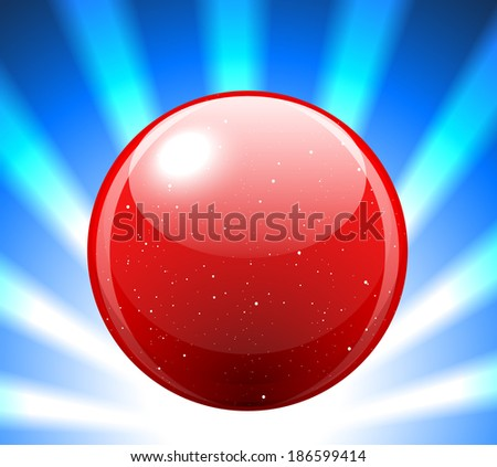 Vector illustration of red refracting Glass marbles sphere with light rays - stock vector