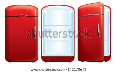 vector illustration of red refrigerator