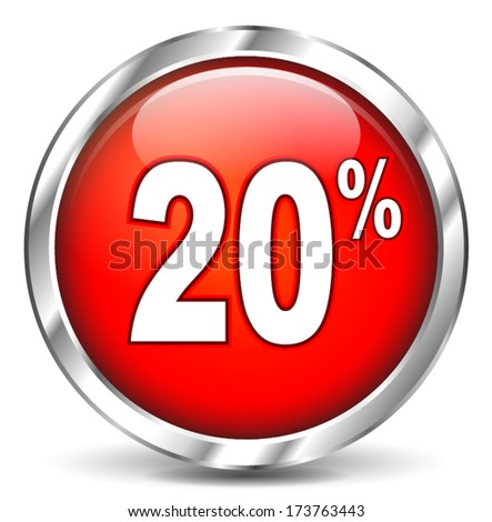 vector illustration of red sale icon on white background