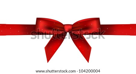 Vector illustration of red shiny bow - stock vector