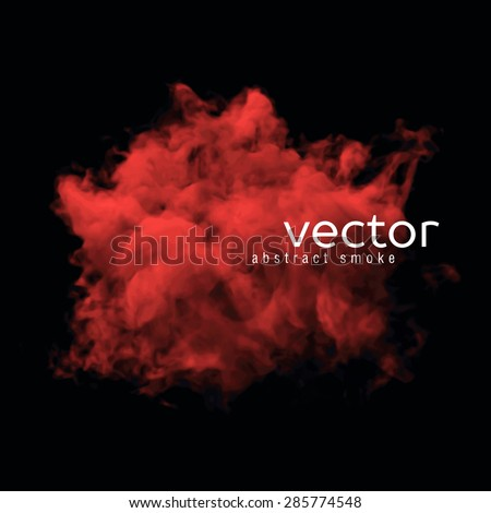 Vector illustration of red smoke on black. Use it as an element of background in your design. - stock vector